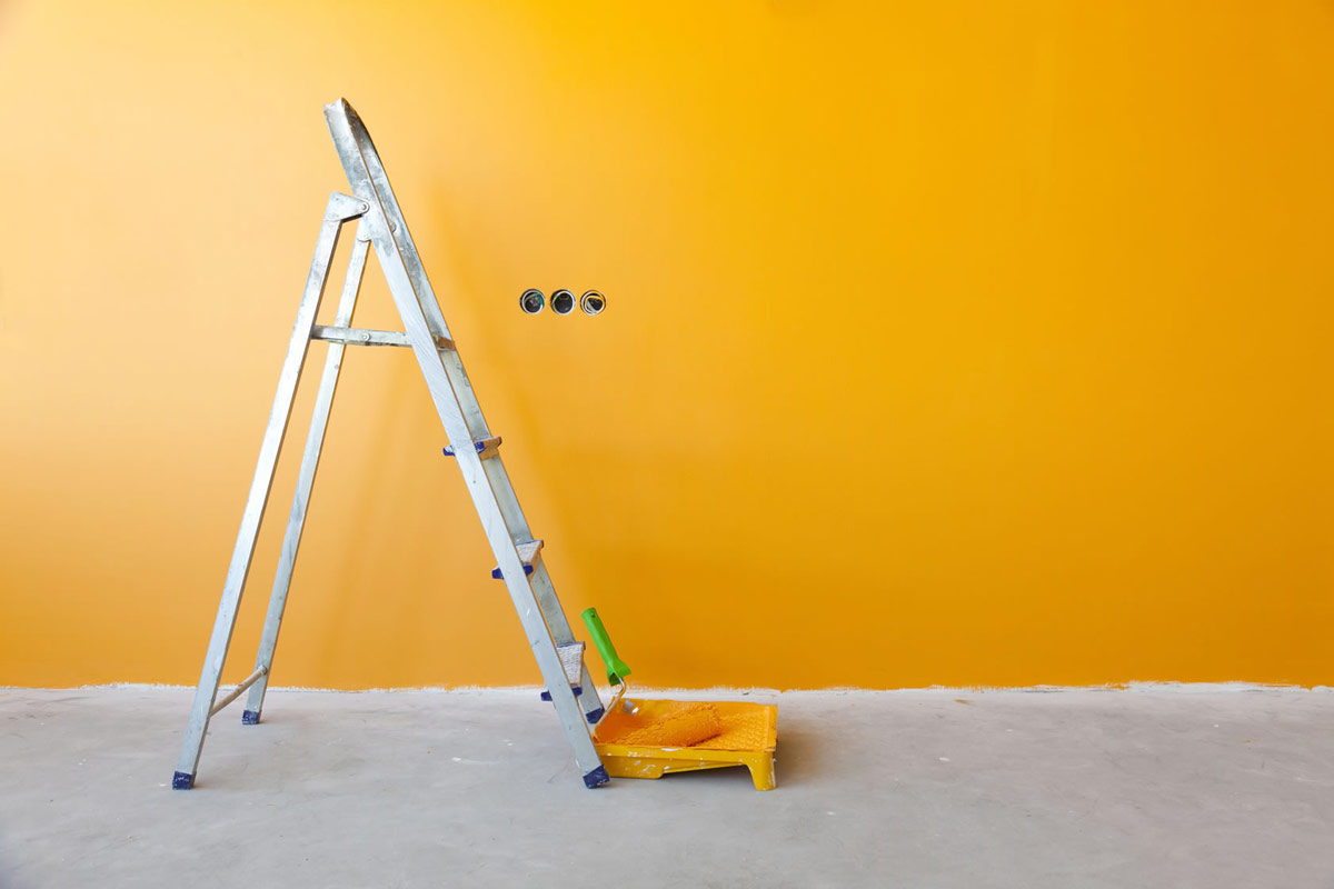 painting interior wall bright yellow
